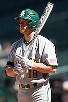 Baylor Bears third baseman Cal Towey #18 at bat during the NCAA baseball game against the California Golden Bears on March 1st, 2013 at Minute Maid Park in Houston, Texas. Baylor defeated Cal 9-0. (Andrew Woolley/Four Seam Images).