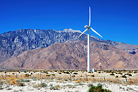 A wind generator by the hills in the Coachella Valley, CA.
