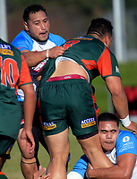 Pakuranga's Jerry Samania is wrapped up during the Auckland Premier club rugby Alan McEvoy Trophy match between Pakuranga and Grammar TEC at Bell Park in Auckland, New Zealand on Saturday, 9 June 2018. Photo: Dave Lintott / lintottphoto.co.nz