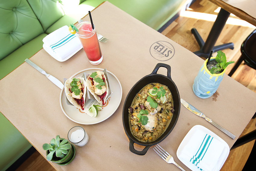 Jersey City, NJ - April 27, 2016: Fish Tacos, Moroccan Chicken and cocktails at The Kitchen Step, the new modern American restaurant by chef Ryan DePersio in Jersey City.<br /> <br /> CREDIT: Clay Williams for Gothamist<br /> <br /> &copy; Clay Williams / claywilliamsphoto.com