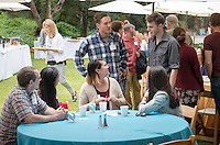 Graduating seniors and their families and friends attend Brunch with President Jonathan Veitch at Collins House, May 16, 2015. (Photo by Marc Campos, Occidental College Photographer)