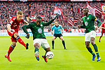 09.03.2019, Allianz Arena, Muenchen, GER, 1.FBL,  FC Bayern Muenchen vs. VfL Wolfsburg, DFL regulations prohibit any use of photographs as image sequences and/or quasi-video, im Bild Joshua Kimmich (FCB #32) im kampf mit Jerome Roussillon (Wolfsburg #15) mit Josuha Guilavogui (Wolfsburg #23) <br /> <br />  Foto &copy; nordphoto / Straubmeier