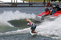 ORLANDO, FL - April 29:  Sam Brown AUS finishes second in Heat #02 of the semi-finals in the Junior Men's Professional Division and advances to the finals at the WWA Nautique Wake Open 2017 at  the Orlando Watersports Complex on April 29, 2017 in Orlando, Florida. (Photo by Liz Lamont/Eclipse Sportswire/Getty Images)