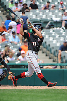 Richmond Flying Squirrels outfielder Jarrett Parker (12) during game against the Trenton Thunder at ARM & HAMMER Park on June 9 2013 in Trenton, NJ.  Trenton defeated Richmond 3-2.  Tomasso DeRosa/Four Seam Images