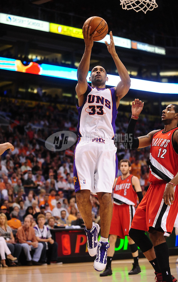Apr. 20, 2010; Phoenix, AZ, USA; Phoenix Suns forward (33) Grant Hill against the Portland Trail Blazers in game two in the first round of the 2010 NBA playoffs at the US Airways Center. Phoenix defeated Portland 119-90. Mandatory Credit: Mark J. Rebilas-