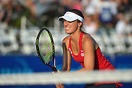 July 24, 2013  (Washington, DC)  Washington Kastles Martina Hingis readies for a serve during the teams match with the Boston Lobsters at Kastles Stadium in the District of Columbia July 24, 2013. (Photo by Don Baxter/Media Images International)