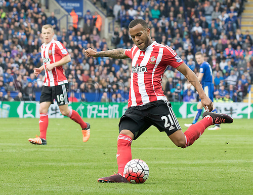 03.04.2016. King Power Stadium, Leicester, England. Barclays Premier League. Leicester versus Southampton.  Southampton defender Ryan Bertrand prepares to cross the ball in to the Leicester City goal area.