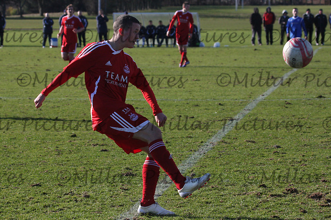 Craig Murray clears the ball in the Aberdeen v Rangers Clydesdale Bank Scottish Premier League U19 match played at Balgownie, Aberdeen on 24.2.12.