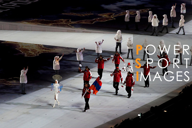 Olympic team of Armenia during the parade of nations at the Opening ceremony of the 2014 Sochi Olympic Winter Games at Fisht Olympic Stadium on February 7, 2014 in Sochi, Russia. Photo by Victor Fraile / Power Sport Images