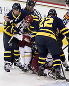 Mike Collins (Merrimack - 13), Pat Mullane (BC - 11), Brendan Ellis (Merrimack - 22) - The Boston College Eagles defeated the visiting Merrimack College Warriors 4-3 on Friday, November 16, 2012, at Kelley Rink in Conte Forum in Chestnut Hill, Massachusetts.
