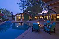 Stock image of residential swimming pool Twilight shot of residential swimming pool