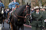 A riderless horse leads the procession for National Park Service Ranger Margaret Anderson at the Pacific Lutheran University in Tacoma on January 10, 2010.   Anderson, was slain at Mount Rainier on New Years' Day when she set up a road block to intercept a vehicle, driven by Benjamin Barnes, who failed to stop at a chain-up checkpoint.  Barnes, the suspect  in the shooting was found dead was found dead the next day. He had drown in Paradise Creek.    ©2012. Jim Bryant Photo. All RIGHTS RESERVED.