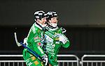 Stockholm 2015-01-06 Bandy Elitserien Hammarby IF - V&auml;ster&aring;s SK :  <br /> Hammarbys Kalle Spjuth firar sitt 1-0 m&aring;l med Stefan Erixon under matchen mellan Hammarby IF och V&auml;ster&aring;s SK <br /> (Foto: Kenta J&ouml;nsson) Nyckelord:  Elitserien Bandy Zinkensdamms IP Zinkensdamm Zinken Hammarby Bajen HIF V&auml;ster&aring;s VSK jubel gl&auml;dje lycka glad happy