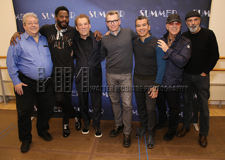 """Ron Melrose, Colman Domingo, Des McAnuff, Robert Gary, Sergio Trujillo, Tommy Mottola and Bruce Sudano attends the Meet & Greet for """"Summer: The Donna Summer Musical"""" on March 8, 2018 at the New 42nd Street Studios,  in New York City."""