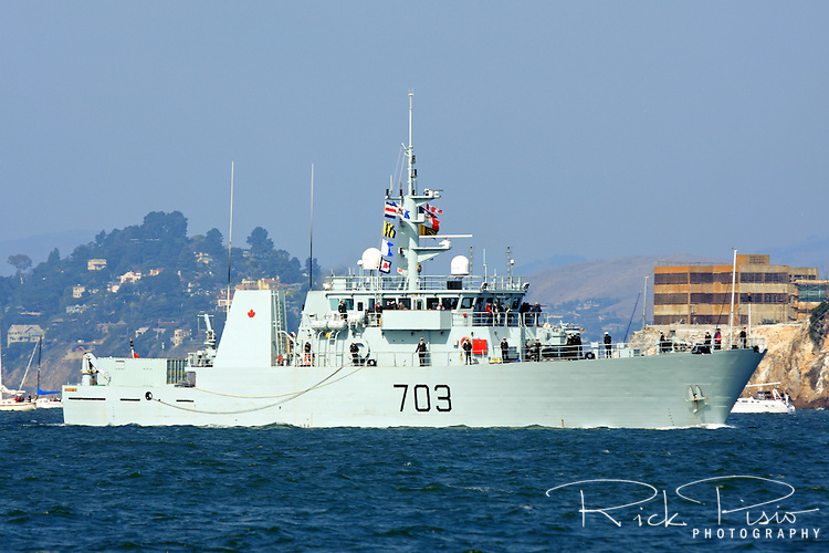 Canadian Navy Kingston class patrol Vessel HMCS Edmonton (MM 703) sails into San Francisco Bay during the 2009 Fleet Week Parade of Ships. The Edmonton was launched on 31 October 1996 and was officially commissioned into the Canadian Forces on 21 June 1997 and carries the pennant number 703. HMCS Edmonton is assigned to Maritime Forces Pacific (MARPAC) and is homeported at CFB Esquimalt.