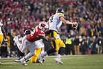Wisconsin Badgers linebacker Leon Jacobs (32) sacks Iowa Hawkeyes quarterback Nate Stanley (4) during an NCAA College Big Ten Conference football game Saturday, November 11, 2017, in Madison, Wis. The Badgers won 38-14. (Photo by David Stluka)