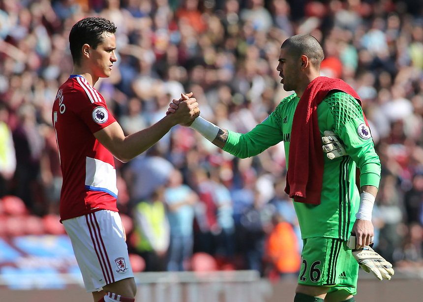 Middlesbrough's Victor Valdes (right) shakes hands with Bernardo Espinosa before kick off<br /> <br /> Photographer David Shipman/CameraSport<br /> <br /> The Premier League - Middlesbrough v Burnley - Saturday 8th April 2017 - Riverside Stadium - Middlesbrough<br /> <br /> World Copyright &copy; 2017 CameraSport. All rights reserved. 43 Linden Ave. Countesthorpe. Leicester. England. LE8 5PG - Tel: +44 (0) 116 277 4147 - admin@camerasport.com - www.camerasport.com