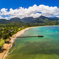 Hanalei Bay as seen from the air on a perfect summer morning, Kaua'i.