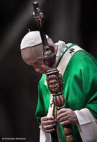 Pope Francis celebrates the concluding Mass of the Synod of Bishops for the Amazon. The Pope uses the pastoral care given by the Synod participants. at the Vatican Oct. 27, 2019.