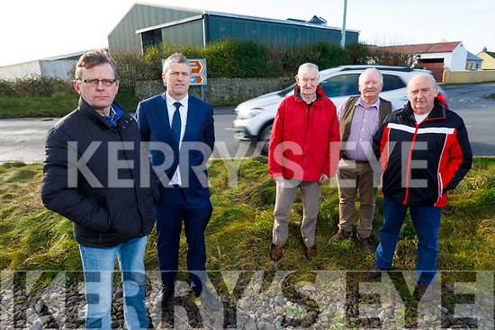 Local residents at Banna Cross, highlighting the dangerous junction on the main Ardfert to Ballyheigue Road on Tuesday.  <br /> Front l to r: Jeremiah Clifford and Pa Daly.<br /> Back l to r: Donal Dowling, Ben Breen and John Joe Flaherty.