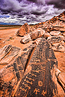Petroglyphs on Navajo Reservation, Colorado Plateau, Arizona, Hopi culture symbols, clan symbols