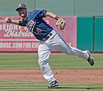 Reno Aces shortstop Taylor Harbin makes the off balance throw to first against the Tucson Padres in their game played on Monday afternoon, September 3, 2012 in Reno, Nevada.