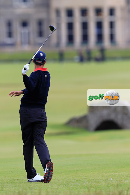 Adam Scott (AUS) tees off the 18th tee during Monday's Final Round of the 144th Open Championship, St Andrews Old Course, St Andrews, Fife, Scotland. 20/07/2015.<br /> Picture Eoin Clarke, www.golffile.ie