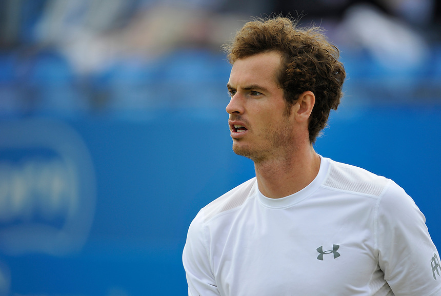 Andy Murray (GBR) in action today during his victory over Viktor Troicki (SRB) in their Men&rsquo;s Singles Semi Final match - Andy Murray (GBR) def Viktor Troicki (SRB) 6-3, 7-6<br /> <br /> Photographer Ashley Western/CameraSport<br /> <br /> Tennis - ATP 500 World Tour - AEGON Championships- Day 7 - Sunday 21st June 2015 - Queen's Club - London <br /> <br /> &copy; CameraSport - 43 Linden Ave. Countesthorpe. Leicester. England. LE8 5PG - Tel: +44 (0) 116 277 4147 - admin@camerasport.com - www.camerasport.com