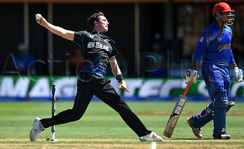 08.03.2015. Napier, New Zealand.  Adam Milne bowling during the ICC Cricket World Cup match between New Zealand and Afghanistan at McLean Park in Napier, New Zealand. Sunday 8 March 2015.