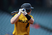 Chad McDaniel (20) of the Missouri Tigers at bat against the Oklahoma Sooners in game four of the 2020 Shriners Hospitals for Children College Classic at Minute Maid Park on February 29, 2020 in Houston, Texas. The Tigers defeated the Sooners 8-7. (Brian Westerholt/Four Seam Images)