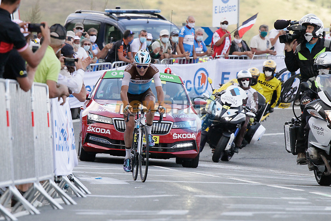 Nans Peters (FRA) AG2R La Mondiale from the breakaway climb the Col de Peyresourde in front during Stage 8 of Tour de France 2020, running 141km from Cazeres-sur-Garonne to Loudenvielle, France. 5th September 2020. <br /> Picture: Colin Flockton | Cyclefile<br /> All photos usage must carry mandatory copyright credit (© Cyclefile | Colin Flockton)
