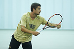 Borna Gojo of the Wake Forest Demon Deacons prepares to serve the ball during the finals of the 2018 NCAA Men's Tennis Singles Championship at the Wake Forest Indoor Tennis Center on May 28, 2018 in Winston-Salem, North Carolina.  Petros Chrysochos defeated teammate Borna Gojo 6-3 6-3.  (Brian Westerholt/Sports On Film)