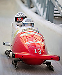 18 December 2010: Fabienne Meyer crosses the finish line, finishing in 4th place for Switzerland at the Viessmann FIBT World Cup Bobsled Championships on Mount Van Hoevenberg in Lake Placid, New York, USA. Mandatory Credit: Ed Wolfstein Photo