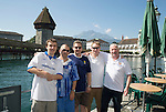 FC Luzern v St Johnstone...16.07.14  Europa League 2nd Round Qualifier<br /> Fans arrive in Lucerne...Pictured from left, Father & son Thomas and Edward Knowles, Charlie Murray, Graeme McGregor and Andy Graham, with the Kapell-Brucke bridge behind them<br /> Picture by Graeme Hart.<br /> Copyright Perthshire Picture Agency<br /> Tel: 01738 623350  Mobile: 07990 594431