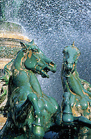 Statues of horses in fountain, Place de l'Observatoire, Paris, France