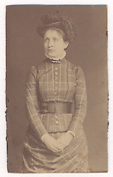5a.<br /> <br /> (2) 3 11/16  x  2 1/4  [sepia image and card stock]<br /> <br /> Sarah Crone portrait, three-quarter frontal figure<br /> (same as [1])<br /> had been removed from a secondary mount and trimmed<br /> mounted on heavy card stock.
