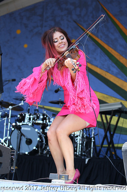 MAY 6, 2017 New Orleans, La: Singer/Musician Amanda Shaw performs at the New Orleans Jazz & Heritage Festival on May 6, 2017 in New Orleans, La