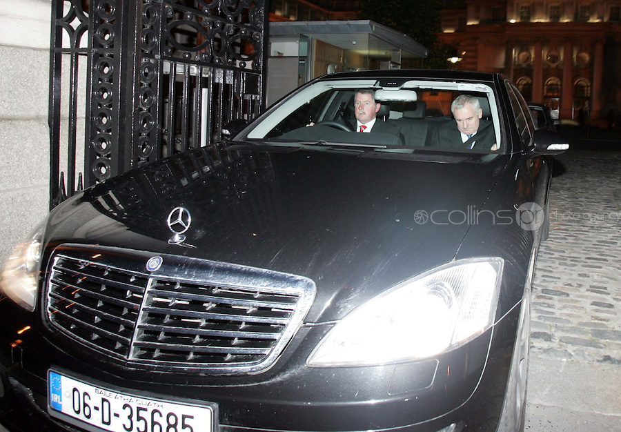03/10/06 Taoiseach Berrtie Ahern pictured leaving the Department of the Taoiseach tonight...Picture Collins, Dublin, Colin Keegan.
