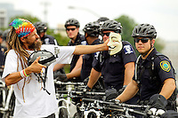 Protestors during a rally by Occupy against the Democratic National Convention near the Time Warner Cable Arena in Charlotte, North Carolina, on the first day of the Democratic National Convention.