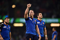 Louis Picamoles of France acknowledges the crowd after the match. Rugby World Cup Pool D match between France and Ireland on October 11, 2015 at the Millennium Stadium in Cardiff, Wales. Photo by: Patrick Khachfe / Onside Images