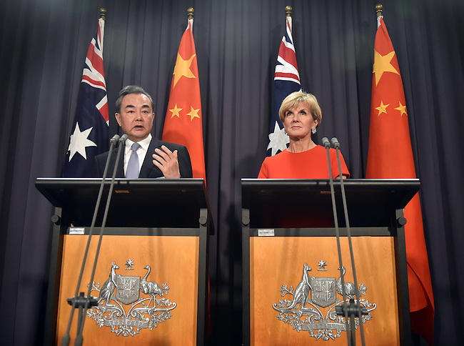 Australian Foreign Minister Julie Bishop (R) speaks at a press conference with Chinese Foreign Minister Wang Yi (L) at Parliament House Canberra, Tuesday Feb 7, 2017. AFP PHOTO/ MARK GRAHAM