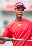 7 October 2016: Washington Nationals outfielder Michael Taylor awaits his turn in the batting cage prior to the first game of the NLDS against the Los Angeles Dodgers at Nationals Park in Washington, DC. The Dodgers edged out the Nationals 4-3 to take the opening game of their best-of-five series. Mandatory Credit: Ed Wolfstein Photo *** RAW (NEF) Image File Available ***