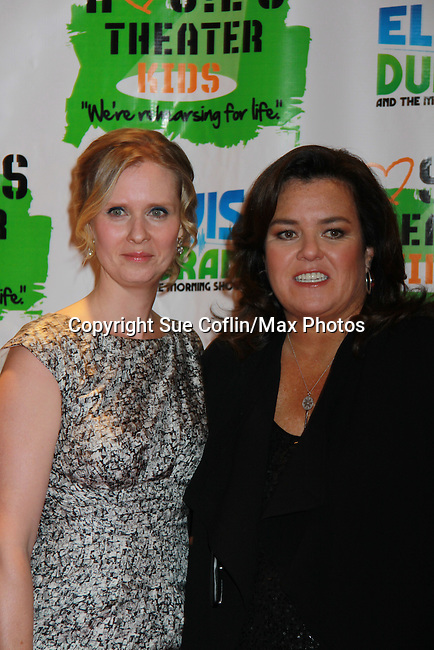 Cynthia Nixon poses with All My Children's Rosie O'Donnell at Rosie's Building Dreams for Kids Gala benefitting Rosie's Theater Kids on September 19, 2011 at New York Marriott Marquis, New York City, New York. (Photo by Sue Coflin/Max Photos)