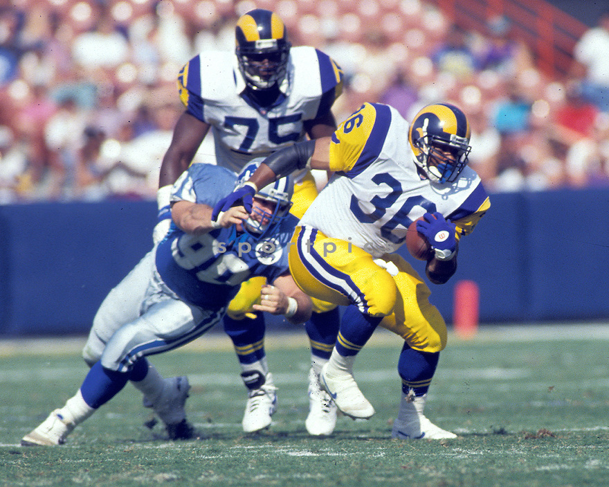 Los Angeles Rams Jerome Bettis(36) in action during a game against the Detroit Lions at Anaheim Stadium in  Anaheim, California on October 24, 1993.  The Lions beat the Rams 20-13.  Jerome Bettis played for 13 years with 2 different teams and was a 6-time Pro Bowler.David Durochik/SportPics