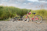 USA, Washington State, Long Beach Peninsula, International Kite Festival, beach cruiser bikes by the dunes
