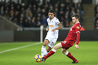 Kyle Naughton of Swansea City & Andrew Robertson of Liverpool during the Premier League match between Swansea City and Liverpool at the Liberty Stadium, Swansea, Wales on 22 January 2018. Photo by Mark Hawkins / PRiME Media Images.