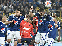 BOGOTA - COLOMBIA, 04-08-2018: Matias De Los Santos jugador de Millonarios en acción durante el encuentro entre Millonarios y Deportivo Independiente Medellin por la fecha 3 de la Liga Águila II 2018 jugado en el estadio Nemesio Camacho El Campin de la ciudad de Bogotá. / Matias De Los Santos player of Millonarios in action during the match between Millonarios and Deportivo Independiente Medellin for the date 3 of the Liga Aguila II 2018 played at the Nemesio Camacho El Campin Stadium in Bogota city. Photo: VizzorImage / Gabriel Aponte / Staff.
