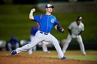 South Bend Cubs relief pitcher Chad Hockin (18) delivers a pitch during a game against the Clinton LumberKings on May 6, 2017 at Four Winds Field in South Bend, Indiana.  South Bend defeated Clinton 7-6 in nineteen innings.  (Mike Janes/Four Seam Images)