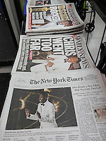 New York newspapers on Monday, February 29, 2016  feature host Chris Rock on their front pages in their coverage of the previous night's Oscar award ceremonies.(© Richard B. Levine)