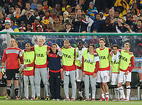 The U.S. bench eagerly awaits the final whistle. The United States won Group C of the 2010 FIFA World Cup in dramatic fashion, 1-0, over Algeria in Pretoria's Loftus Versfeld Stadium, Wednesday, June 23rd..